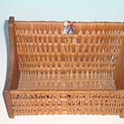 Unusual Hanging Utility Basket with Solid Wooden Ends