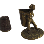 Brass and Brass Plated Figural Thimble Holder