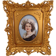 Very Fine Porcelain Painting in Gilded Frame