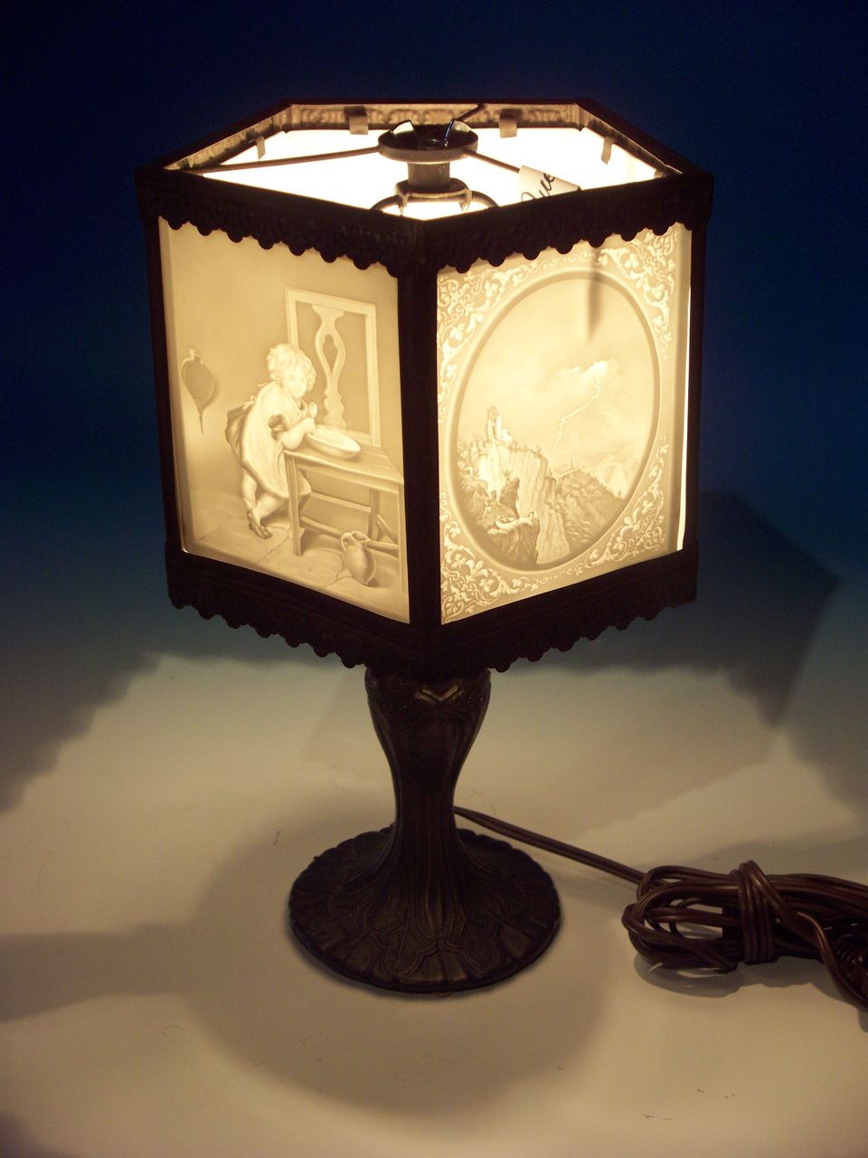 5 Panel Lithophane Lamp SOLD On Ruby Lane