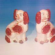 Pr. of Staffordshire Pottery Spaniels