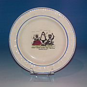 Rare ABC Plate with Black figures