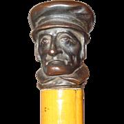 A very fine Detailed Cut Steel Man's Face Walking Stick