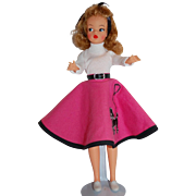 Adorable Tammy Doll by Ideal wearing a Wonderful Hand made Poodle Skirt!