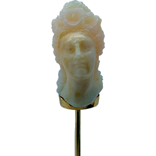 Tiffany & Co. 14K Stick Pin with Carved Opal Bust - Multi Dimensional - Art Nouveau - RARE!