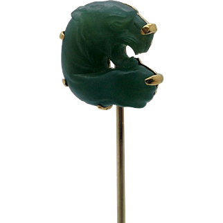Tiffany & Co 14K Stick Pin w Carved Jade Tiger