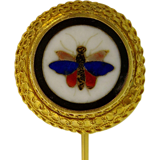 Fine Antique Victorian Era Pietra Dura Stick Pin, 18k Gold, HANDMADE