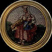 Fine Antique Victorian Era Micro Mosaic Cravat or Stick Pin, 18K Gold Mount