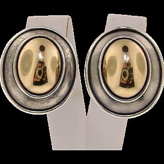James Avery Sterling Silver 925 & 14K Gold Oval Domed Earrings