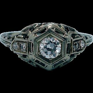 Art Deco 18K 0.30 CTW Diamond Ring - Great Detail!