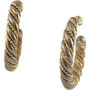 Tiffany & Co Sterling 18K Gold Large Twisted Rope Earrings