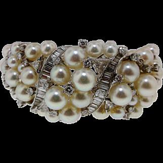 Rare Mid Century Platinum Diamond and Pearl Bracelet