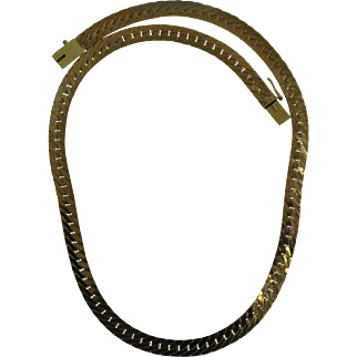 HEAVY 32.2 gram 14-karat yellow gold herringbone necklace