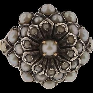 Vintage Handmade 10K Gold and Pearl Harem Princess Ring  - WOW!