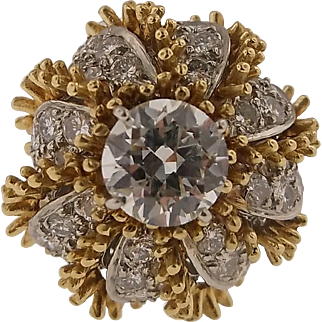 1.59 carat GIA Diamond and 18 karat Gold Italian Bombe Ring c 1960's