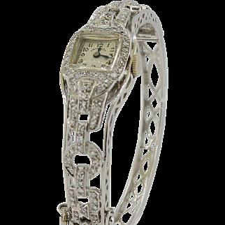 Art Deco Platinum & 2 CTW Diamond Hamilton Watch with White Gold Bangle Bracelet - UNIQUE!