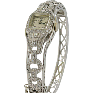 Art Deco Platinum & 2 CTW Diamond Hamilton Watch with White Gold Bangle Bracelet - UNIQUE!