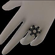 14K Gold, 2.25 ctw Diamond and Genuine Sapphire Princess Style Ring