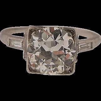 GORGEOUS!  Art Deco Platinum and 2.0 CTW Diamond Ring