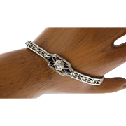 Art Deco 18K White Gold, Diamond & Synthetic Sapphire Bracelet