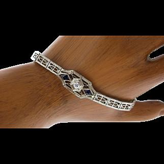 Art Deco 18K White Gold, Diamond & Synthetic Sapphire Bracelet