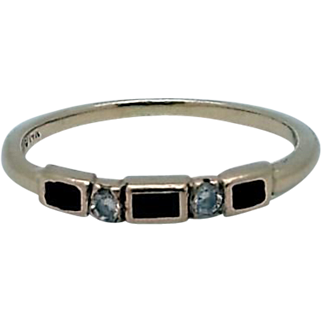 14K Diamond and Onyx Stackable Ring