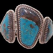 "Vintage  Native  Silver "" Royston"" Turquoise  Cuff Bracelet"