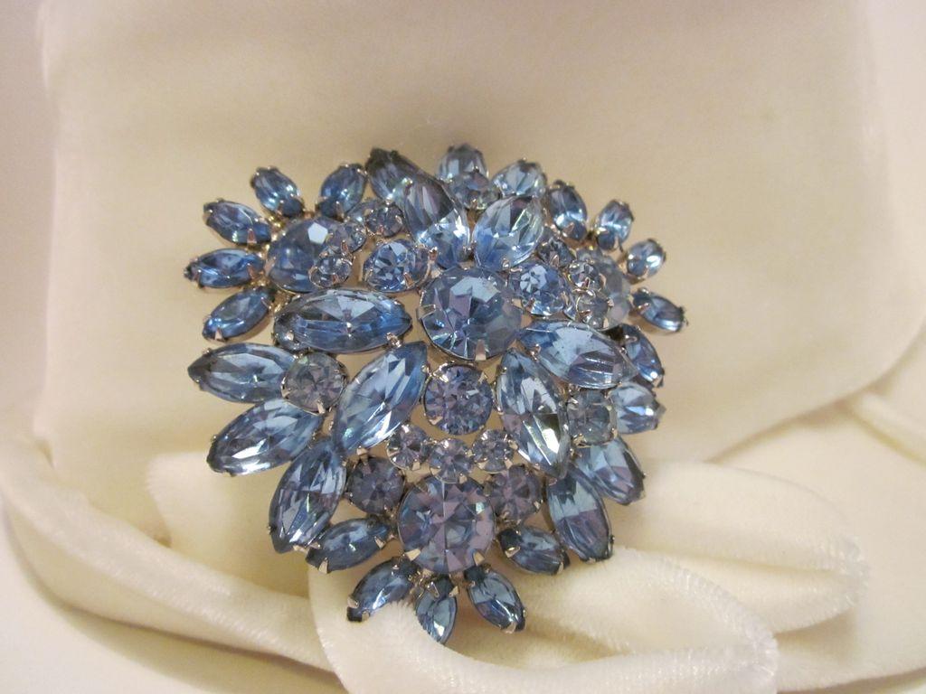Large Dazzling Blue Rhinestone Brooch