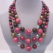 Bright Colorful Vintage Beaded Necklace Made In Japan