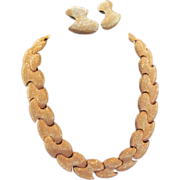 Heavy Shimmery Gold-Tone Park Lane Collar Necklace With Matching Earrings