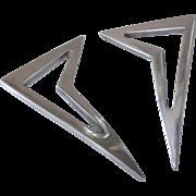 Very Cool Modernist Signed Glen Yank Aluminum Earrings