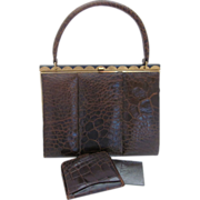 Vintage Brown Alligator Purse & Matching Wallet With Brushed Gold-tone Accent By Coret Of Canada