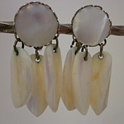 Signed Coro Mother Of Pearl Dangle Earrings