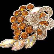 VINTAGE RHODIUM Plated Signed Vasari Brooch w/ Prong-Set Swarovski Austrian Crystal Stones