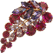 VINTAGE SIGNED Brooch w/ Prong-Set Fuchsia, Violet and Light Amethyst Colored Crystal Rhinestones