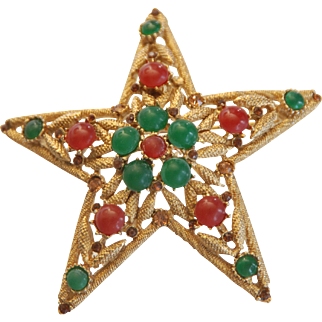 VINTAGE SIGNED Capri Star Brooch w/ Orange and Green Colored Cabochon Stones