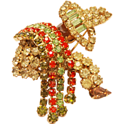 VINTAGE HOBE Signed Figural Brooch w/ Multi-Color Prong Set Crystal Rhinestones