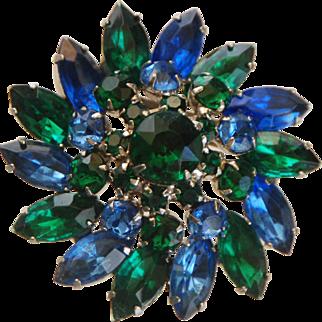 VINTAGE FLORAL Brooch w/ Prong Set Blue + Green Crystal Rhinestones