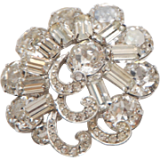 VINTAGE WEISS Signed Large Prong-Set Crystal Rhinestone Brooch