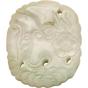 """ANTIQUE CHINESE Jade Plaque Pendant Carved Flowers, Trees + Vines 2 1/8"""" h"""