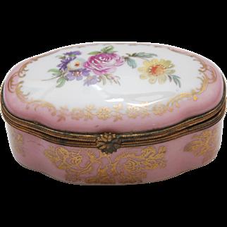 Vintage Limoges Couleuvre Hand-Painted Pink Floral + Gold Porcelain Hinged Trinket Box