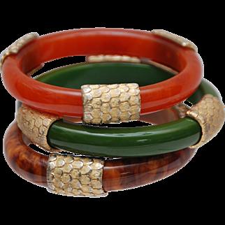 SET OF 3 Vintage Bangle Bracelets_Faux Stone Made of Lucite