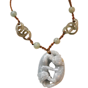 OLD CHINESE Hand-Carved Jade Necklace_Pendant_Amulet_Beads_Interlocking Rings_2 Animals