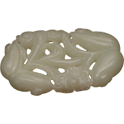 ANTIQUE CHINESE Jade Carved Plaque Pendant_Gourds_Flowers_23.6 Grams