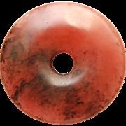 Antique Chinese Pink Jade Bi Disc Pendant_55.8mm