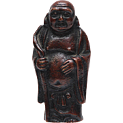 "SMALL ANTIQUE Solid Bronze Happy Buddha Standing Figurine Statue_2 1/4""_5.7cm h"