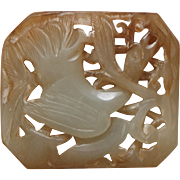 ANTIQUE CHINESE Deeply Carved Jade Plaque_Pendant w/ Bird_Light Green_Russet