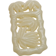 ANTIQUE CHINESE White Nephrite Jade Carving_Pendant_Bamboo Trees_17.4 grams_57mm