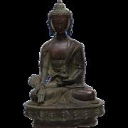 "ANTIQUE BRONZE Tibetan Menla Medicine Buddha_8 1/8"" (20.6cm) h"