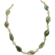 """Vintage Beaded Necklace_Twisted Spinach Jade_Round Agate Beads_24""""_60.9 cm Long"""